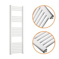 1200 x 400mm Straight White Heated Towel Rail