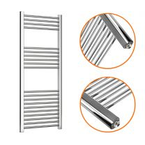 1200 x 500mm Straight Chrome Heated Towel Rail