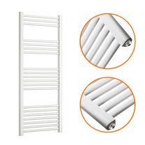 1200 x 500mm Straight White Heated Towel Rail