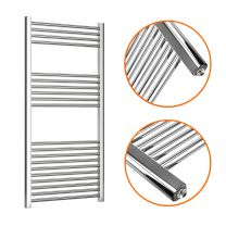 1200 x 600mm Straight Chrome Heated Towel Rail