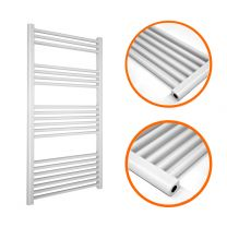 1200 x 600mm Straight White Heated Towel Rail
