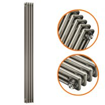 1800 x 203mm Raw Metal Lacquered Vertical Traditional 3 Column Radiator