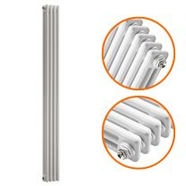 1500 x 203mm White Vertical Traditional 3 Column Radiator