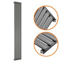 1780 x 236mm Anthracite Single Oval Tube Vertical Radiator