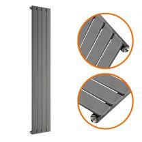 1600 x 280mm Anthracite Single Flat Panel Vertical Radiator