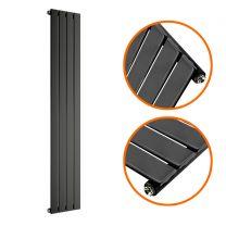 1600 x 280mm Black Single Flat Panel Vertical Radiator