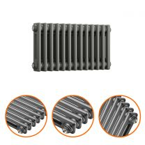300 x 608mm Anthracite Horizontal Traditional 2 Column Radiator