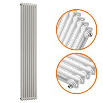 1500 x 383mm White Vertical Traditional 2 Column Radiator