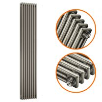 1800 x 383mm Raw Metal Lacquered Vertical Traditional 3 Column Radiator