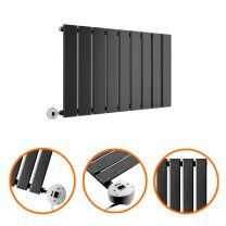 400 x 630mm Electric Black Single Flat Panel Horizontal Radiator