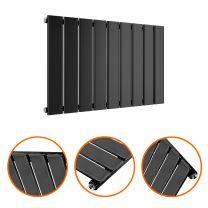 400 x 630mm Black Single Flat Panel Horizontal Radiator