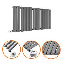 400 x 834mm Electric Anthracite Single Oval Panel Horizontal Radiator