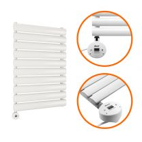 595 x 400mm Electric White Single Oval Panel Vertical Radiator