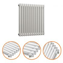600 x 608mm White Horizontal Traditional 2 Column Radiator