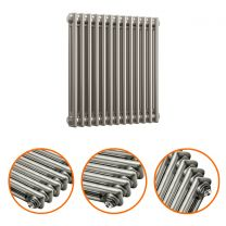600 x 608mm Raw Metal Lacquered Horizontal Traditional 2 Column Radiator