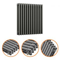 600 x 608mm Anthracite Horizontal Traditional 3 Column Radiator