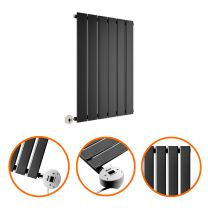 635 x 420mm Electric Black Single Flat Panel Horizontal Radiator