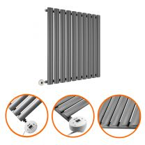 635 x 595mm Electric Anthracite Single Oval Panel Horizontal Radiator
