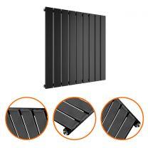635 x 630mm Black Single Flat Panel Horizontal Radiator