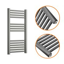 800 x 400mm Straight Anthracite Heated Towel Rail