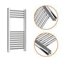 800 x 400mm Straight Chrome Heated Towel Rail