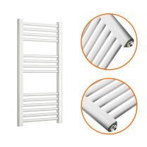 800 x 400mm Straight White Heated Towel Rail