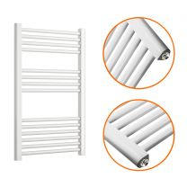 800 x 500mm Straight White Heated Towel Rail