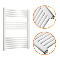 800 x 600mm Straight White Heated Towel Rail