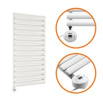 834 x 400mm Electric White Single Oval Panel Vertical Radiator