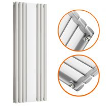 1800 x 500mm White Vertical Radiator With Mirror, Double Panel