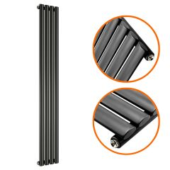 1600 x 236mm Black Single Oval Tube Vertical Radiator