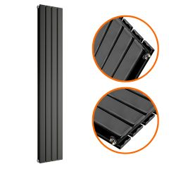 1600 x 280mm Black Double Flat Panel Vertical Radiator