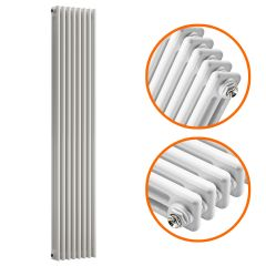 1800 x 383mm White Vertical Traditional 3 Column Radiator