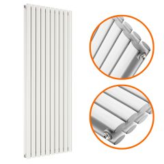 1780 x 590mm White Double Oval Tube Vertical Radiator