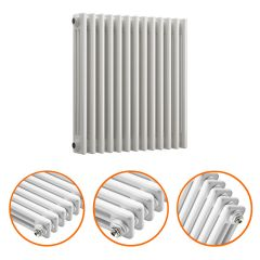 600 x 608mm White Horizontal Traditional 3 Column Radiator