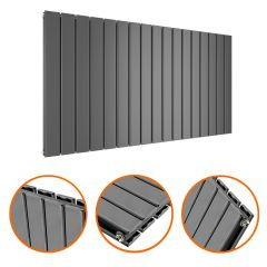 635 x 1190mm Anthracite Double Flat Panel Horizontal Radiator
