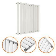 635 x 595mm White Single Oval Tube Horizontal Radiator